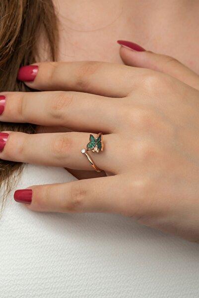 Papatya Silver 925 Ayar Yeşil Taşlı Gümüş Kelebek Kadın Yüzük Rose Kaplama