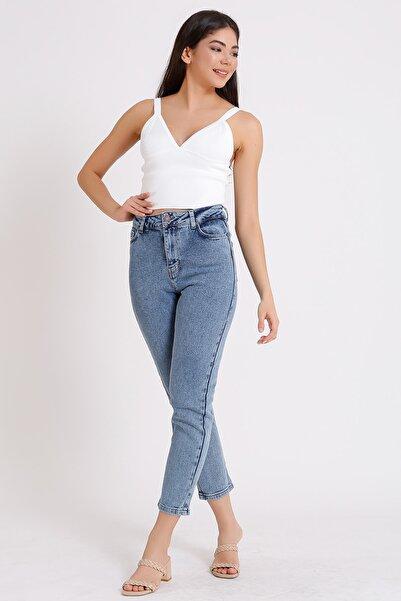Kadın Açık Mavi Yüksek Bel Kar Yıkama Denim Kot Mom Jeans 2063