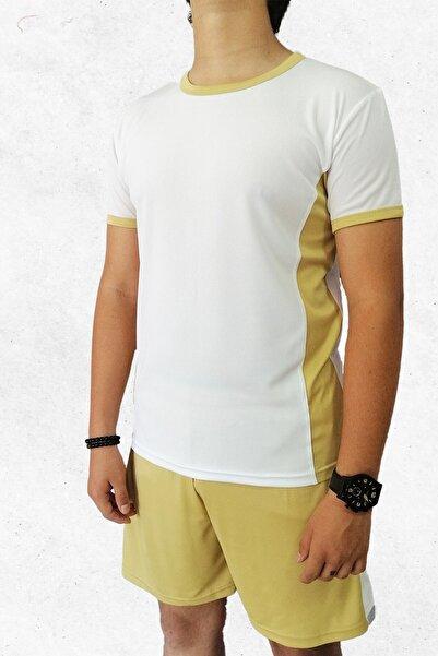 Modapalace Erkek Beyaz Gold Detaylı Spor Tişört