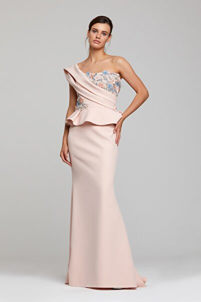 RENGIN Göğsü Ve Beli Çiçek Aplikeli Elbise