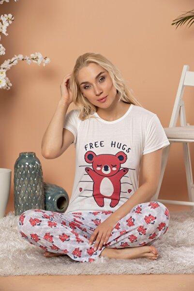 STRAWBERRY Kadın Ekru  Kısa Kol Pijama Takım