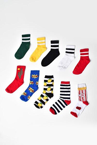 MG ÇORAP Renkli Çorap 10 Lu Set