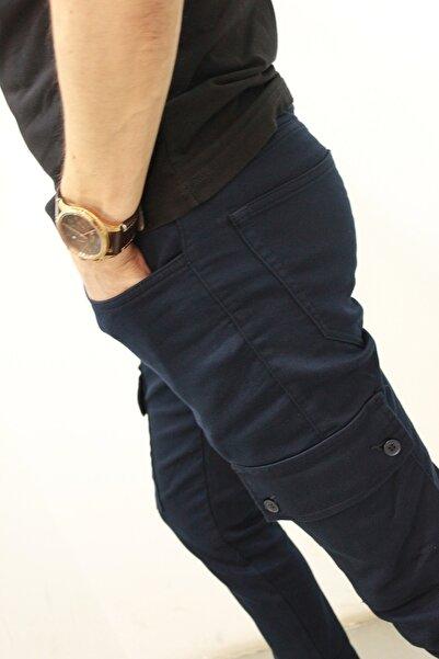 Twister Jeans Erkek Lacivert Beli Ve Paçası Lastikli Kargo Pantolon Cold 9138