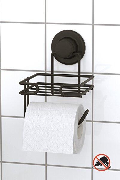 Teknotel Delme Vida Matkap Yok! Vakumlu Yedekli Tuvalet Kağıtlık Mat Siyah Dm275