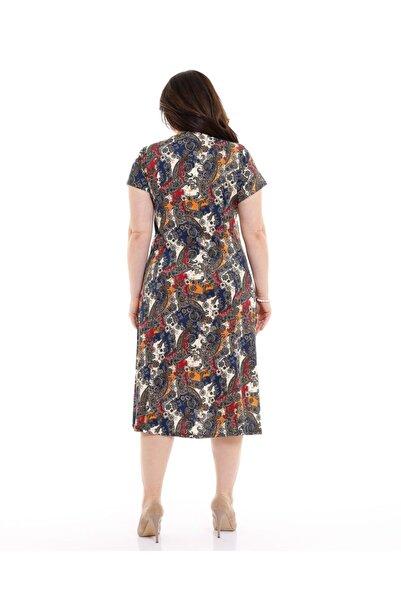 Büzğülü Yaka Yarım Kol Büyük Şal Desen Penye Elbise