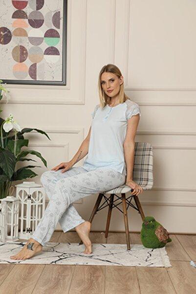 ALİMER Kadın Mavi Dantel Detaylı Çeyizlik 3'lü Sabahlıklı Kısa Kol Pijama Takımı