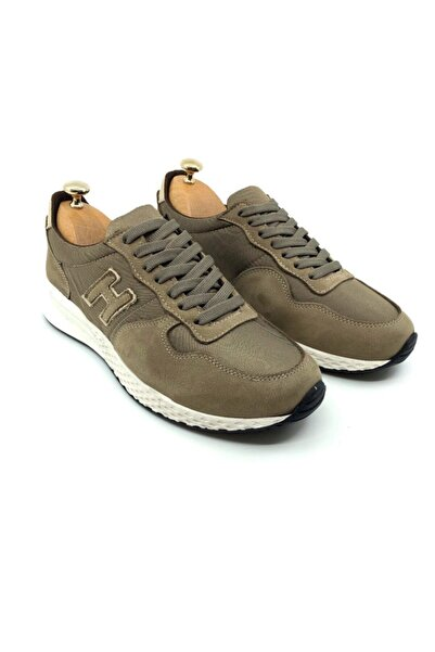 TETRİ Erkek Haki Hakiki Deri Sneakers