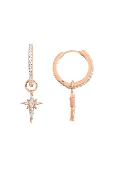 NK Rose Kutup Yıldızı Küpe - 925 Ayar Gümüş