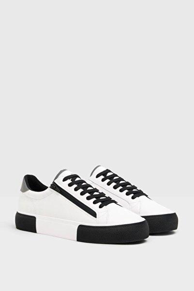 Bershka Erkek Çok Renkli Kontrast Fermuarlı Spor Ayakkabı. 12434660