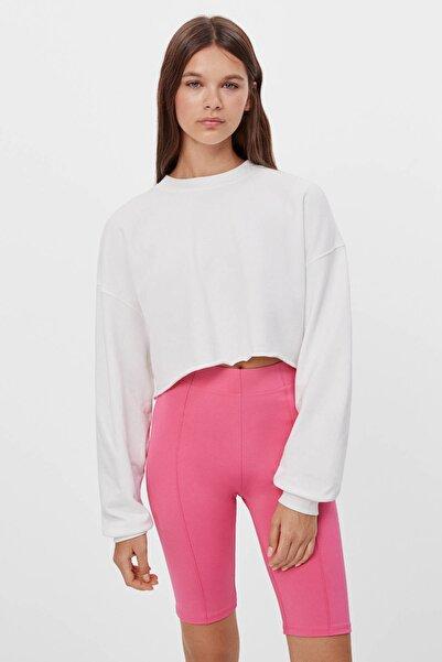 Bershka Kadın Kirli Beyaz Cropped Sweatshirt 07033443