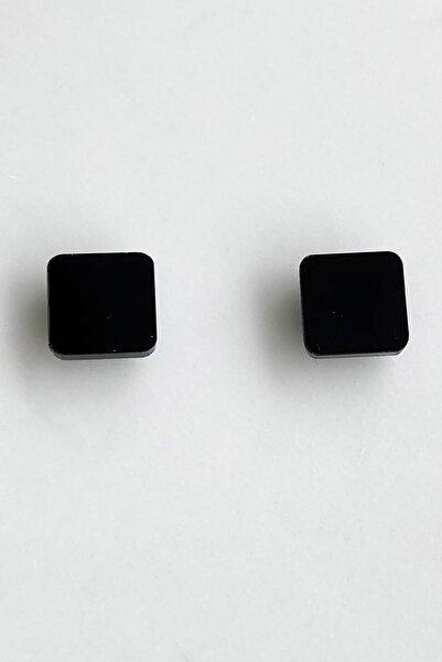 TAKIŞTIR Siyah Renk Kare Figürlü Büyük Boy Mıknatıslı Küpe