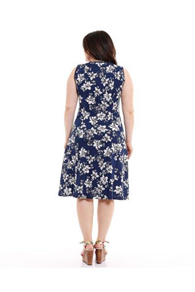 Kadın Lacivert V Yaka Kolsuz Çiçek Desen Penye Elbise