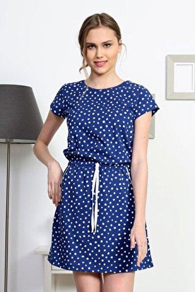 Kadın Lacivert Kısa Kol Elbise