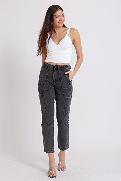 Kadın Yüksek Bel Jeans Fermuarlı Siyah Denim Kot Mom 2058
