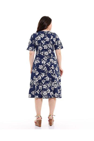 V Yaka Yarım Kol Lacivert Çiçek Desenli Penye Elbise
