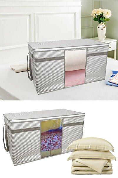 Vivyan Pencereli Yastık Ve Yorgan Hurcu Beyaz Çizgili 40 Cm X 40 Cm X 75 Cm.