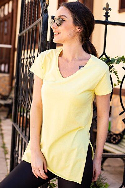 armonika Kadın Sarı V Yaka Yanı Yırtmaçlı T-Shırt Arm-20Y012001