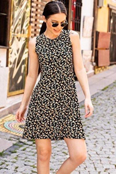 Kadın Sarı Küçük Çiçekli Yapraklı Kısa Elbise Arm-20Y001060