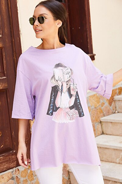 armonika Kadın Lila Kitap Baskılı T-Shirt Arm-20Y012006
