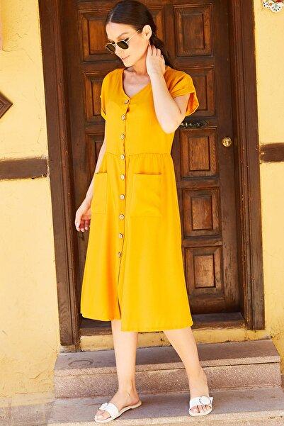 armonika Kadın Hardal Cepli Önü Düğmeli Elbise Arm-20Y001054