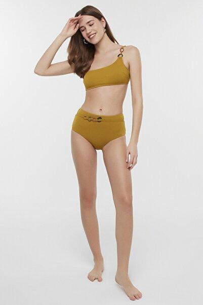 Kadın Yağ Yeşili Circle Tek Omuz Bikini Üstü