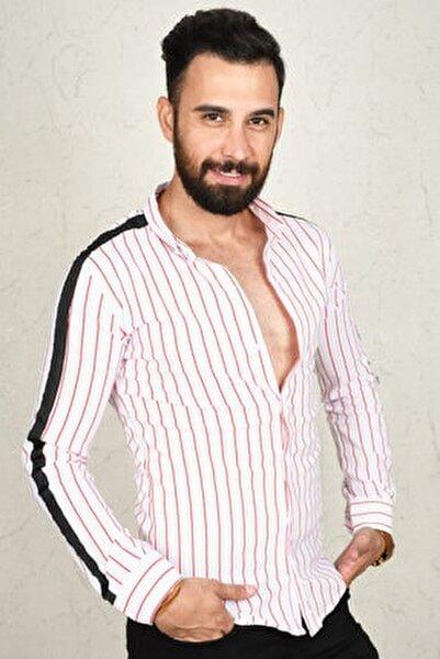 Kırmızı-beyaz Çizgili Kol Şeritli Erkek Gömlek 2002812