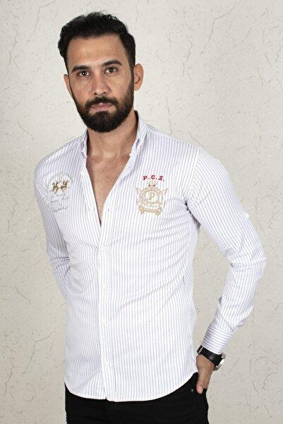 DeepSEA Erkek Beyaz Çizgili Dar Kesim Gömlek 2002810