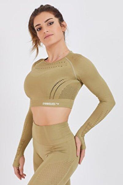 Kadın Uzun Kollu Dikişsiz Spor Tişört | Olive | Crop Tops | Aktive Power Serisi