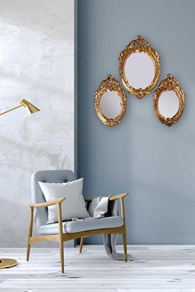 Bastonlu Polyester Filiz 3'lü Ayna Seti Gold