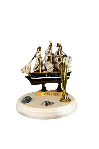 ALPİNEVOFİS Dekoratif Ahşap Gemi Kalemlik Ofis Biblo Aksesuar Denizci Gemici Marin
