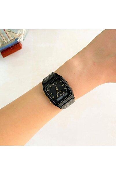 Çift Göstergeli Siyah Saat