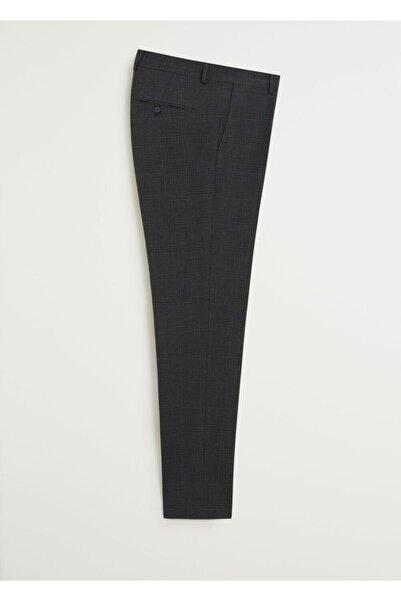 MANGO Man Erkek Siyah Dar Kesim Kareli Takım Pantolon  77020508