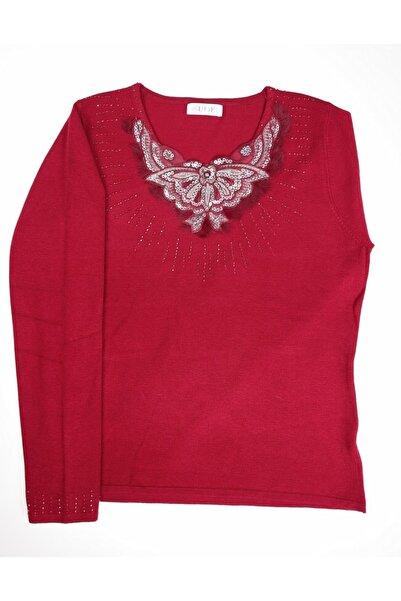 Sude Kadın Kırmızı Triko Işli Bluz 6350