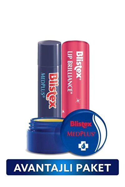 Blistex Kuruyan Dudaklara Medplus Kavanoz + Medplus Stick + Renk ve Işıltı Etkili Lip Brilliance