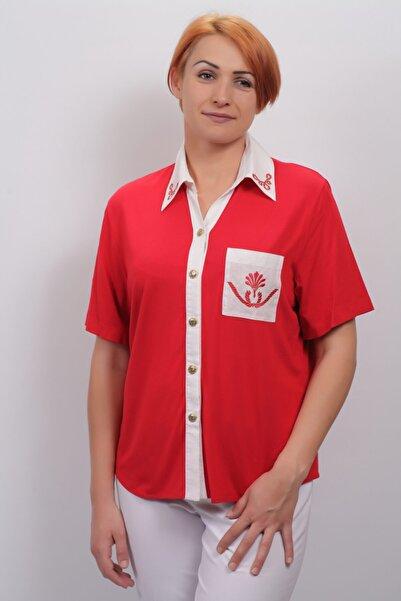 Sude Kadın Kırmızı Penye Bluz 2101