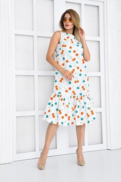 Kiraz Desenli Midi Elbise