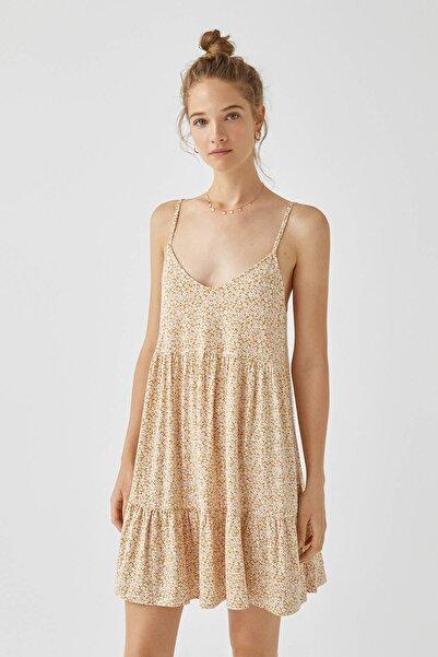 Pull & Bear Kadın Hardal Rengi Askılı Kısa Volanlı Elbise 09391325