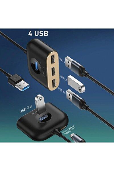 Baseus Square Round 4in1 Usb Hub Adaptör (usb3.0 To Usb3.0*1+usb2.0*3) 1m