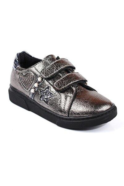 Akıllı Şirin Taş Işlemeli Inci Döşeli Cırtlı Kız Çocuk Vans Ayakkabı Platin