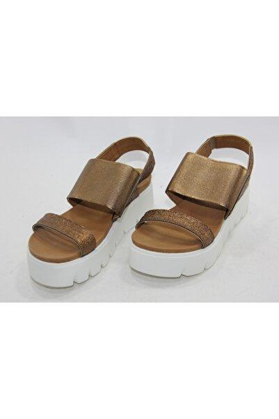 İnci Kadın Kahve Hakiki Deri Sandalet Ayakkabı