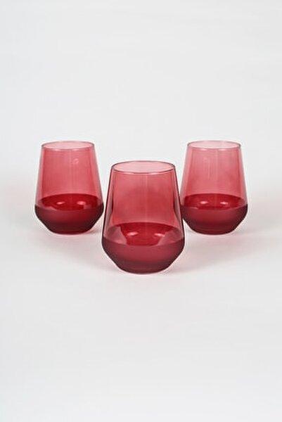 Matte 3'lü Su Bardağı Seti Kırmızı 425 cc