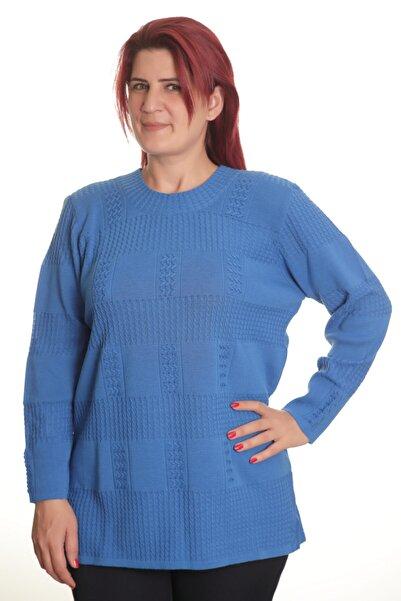 Sude Kadın Mavi Detay Triko Bluz 830