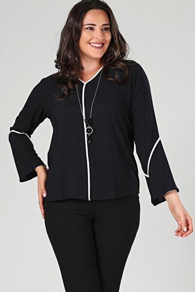 Womenice Büyük Beden Siyah Kolu Volan Şerit Bluz