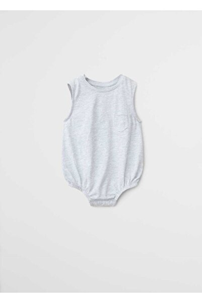 MANGO Baby Unisex Bebek Beyaz Organik Pamuklu Çıtçıtlı Badi