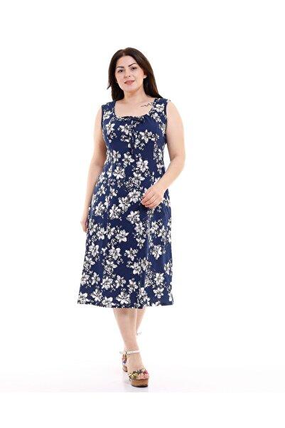Kalın Askılı Lacivert Çiçek Desen Penye Elbise