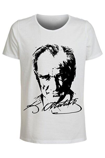 ABC Unisex Beyaz Mustafa Kemal Atatürk Baskılı T-shirt