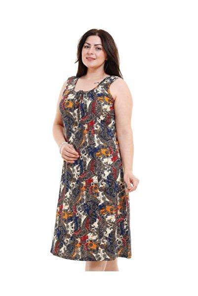 Kalın Askılı Büyük Şal Desen Penye Elbise