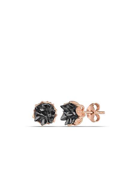 MySilvers Siyah Oniks Lotus Çiçeği Gümüş Küpe