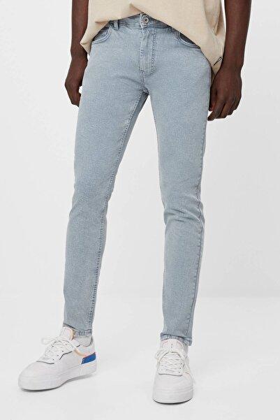 Bershka Erkek Gri Super Skinny Fit Pantolon