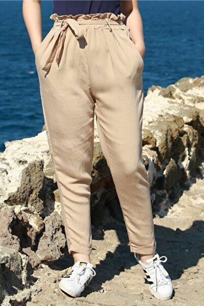 Madmext Kadın Bej Mad Girls Kemerli Pantolon Mg621-1